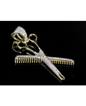 10K Yellow Gold Genuine Diamond Barber Scissor Comb Pendant Charm 3/10 Ct 1.5""