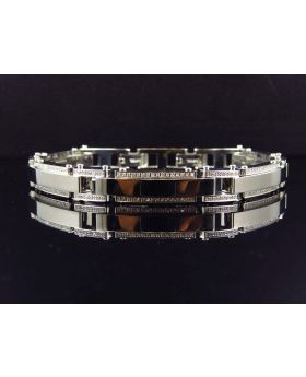 "Mens Genuine Diamond Iced Out White Stripe Steel Bracelet BR12B by Arctica 9.25"" 1.5Ct"