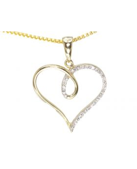 Looping Heart Pendant in Yellow (0.05 ct)