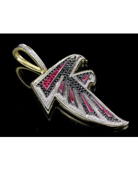 Atlanta Falcons Pendant with Diamonds and Rubies 2 Inch (1.5 Ct)