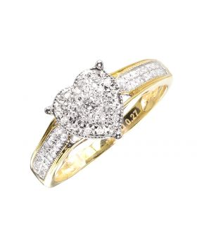 Heart Ring with Pave Diamonds (0.27 ct)