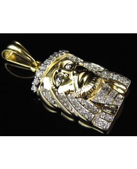 Yellow Gold Mini 1.25 Inch 3D Jesus Head Piece Diamond Pendant (.45ct)