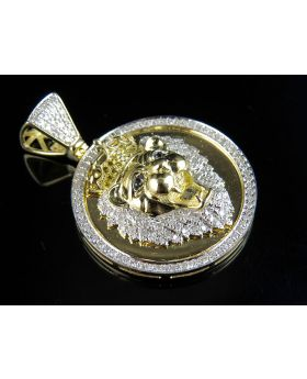 10K Yellow Gold Real Diamond Lion Medallion Pendant 1.0ct 1.5""