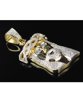 10K Yellow Gold Genuine Diamond 3D Crown Jesus Piece Pendant (1.12ct)