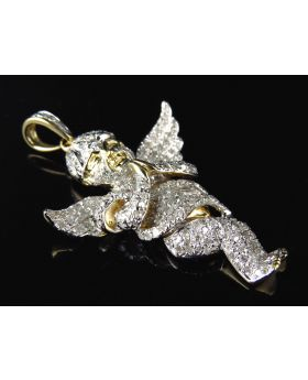 Fully Iced Out Genuine Diamond Angel Pendant in Yellow Gold Finish (1.60ct)