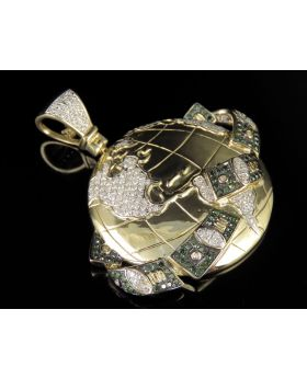 10K Yellow Gold Money Globe Diamond Pendant 1.03CT 1.75""