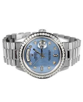 18k White Gold Rolex President Day-Date with 3 Ct Bezel