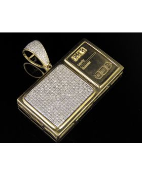 10K Yellow Gold Digital Weighing Scale Diamond Pendant 1.35Ct 1.5""