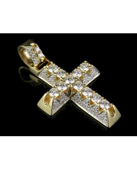 14K Yellow Gold Real Diamond 3D Solitaire One Row Cross Pendant 1 3/10 CT 1.25""