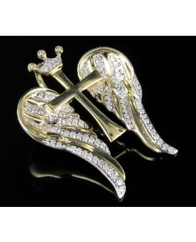 10K Yellow Gold Real Diamonds Wing Cross Charm Pendant 0.40ct 1.2""