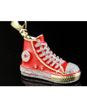 10K Yellow Gold Converse All Star Red Shoe Genuine Diamonds Pendant 1/2 Ct 1.9""