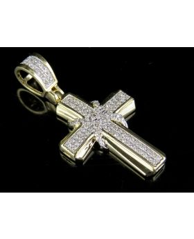 10K Yellow Gold Genuine Diamond 2 Row X Cross Pendant Charm 1/5 Ct 1.1""