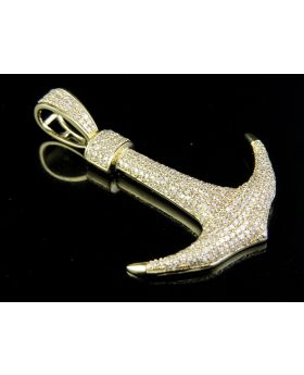 """Men's 10K Yellow Gold Genuine Diamond Iced Out Anchor Pendant Charm 1 Ct 1.75"""""""