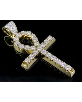 """Solid 14K Yellow Gold Real Diamond Cluster Egyptian Ankh Pendant 2 4/5 Ct 2.75"""""""