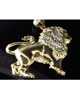 Solid 10K Yellow Gold Lion Pendant