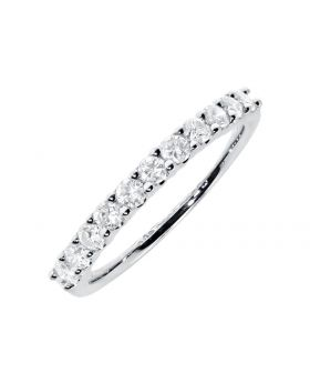 Shared Prong 2.5mm Diamond Band Ring in 14k White Gold (0.49ct)