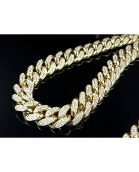 10K Yellow Gold Half Kilo Miami Cuban Link Diamond Chain 29.5 ct