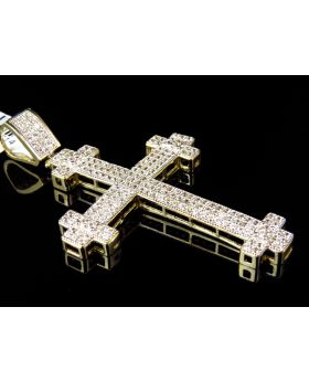 Solid 10K Yellow Gold Simulated Diamond Cross Pendant