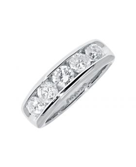 Channel Set 5mm Round Diamond Wedding Band Ring in 14k (1.51ct)