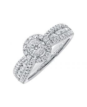 Solitaire Look Diamond Engagement Ring in White Gold(1.25 ct)
