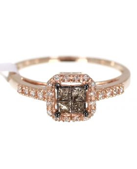 Rose Gold Engagement Ring With Brown/White Diamonds 0.25ct