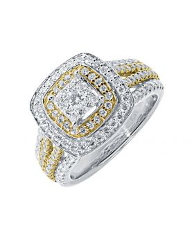 Two Tone XL Invisible Solitaire Engagement Ring in 14k Gold (1.75ct)