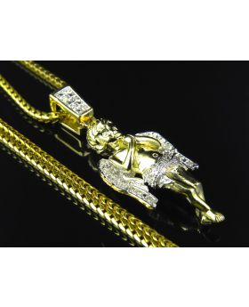Genuine Diamond Sterling SIlver Angel Pendant Finished In Yellow Gold (with chain) (.10 Ct)