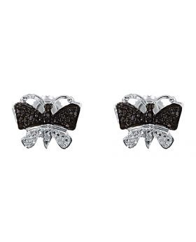 Black White Diamond Butterfly Studs Earrings in Sterling Silver (0.33 ct)