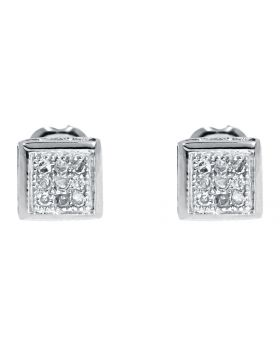 Round Cut Invisible Set Diamond Stud Earrings in 10k Gold (1/10 ct)