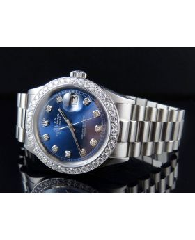 Mens Rolex Datejust 36MM Oyster Perpetual Blue Dial Watch with Presidential Band 2.5 Ct