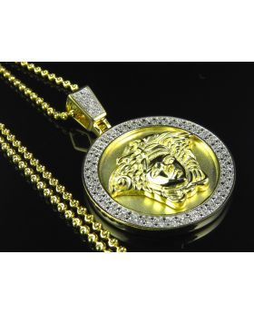 Premium Greek Key Pendant With Chain in Yellow 925 Silver