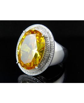 Men's White Gold Finish Yellow Sapphire Real Diamond Pinky Ring 0.50Ct