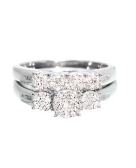 Three Stone Bridal Set Set in Silver (0.45 ct)