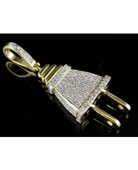 Men's 10K Yellow Gold 3D Plug Genuine Diamond Pendant Charm 3/4 Ct. 1.4""