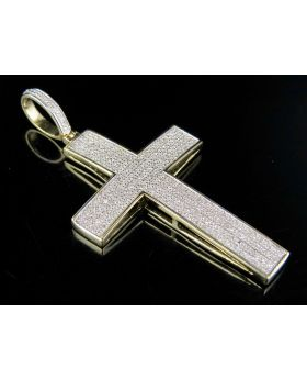 Men's 10K Yellow Gold Dome Cross Genuine Diamond Pendant Charm 1/2 Ct 1.8""