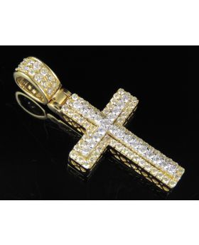 10K Two Tone Gold Real Diamond Cross Pendant 1.50 CT 1.6""