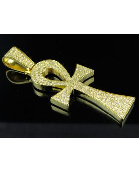 14K Yellow Gold Ankh Cross Solid Back Diamond 3 Inch Pendant Charm 5.0ct.