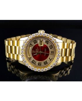Rolex President 18K Yellow Gold Day-Date President Red Dial Diamond Watch (6 Ct)