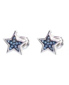 7mm Star Earrings with Blue Diamonds (0.05 ct)