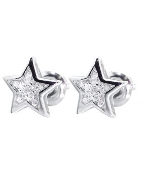 7mm Star Earrings with White Diamonds (0.05 ct)