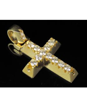 Diamond Solitaire Prong Cross Pendant in 10K Yellow Gold 1Ct 1.5""