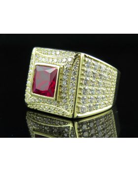 Mens 10K Yellow Gold Ruby Gemstone Lab Diamond Pinky Ring