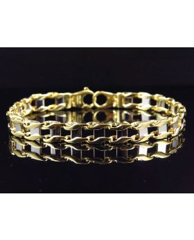 Ladies 10K Yellow & White Gold Italian Stampato Style Bracelet 7MM