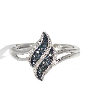 Waterfall Ring with Blue Diamonds (0.10 ct)