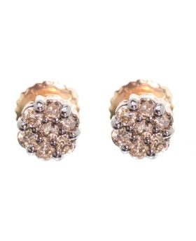 Cluster Earrings with Brown Diamonds (0.25 ct)