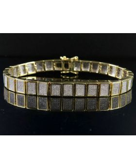 10K Yellow Gold Men's Square Cluster Real Diamond Bracelet 2 1/2 CT 8MM