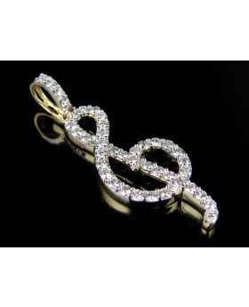 """10K Yellow Gold G Treble Clef Musical Note Real Diamond Pendant 1 1/5 Ct. 1.5"""""""