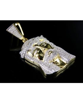 Men's 10K Yellow Gold Jesus Face Piece Genuine Diamond Charm Pendant 1/2 Ct 1.5""