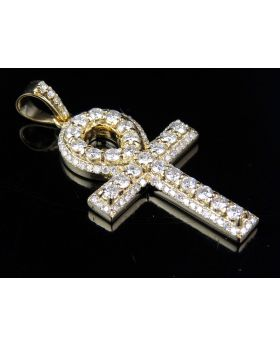 Men's Solid 14K Yellow Gold Ankh Cross Real Diamond Pendant 4.0CT