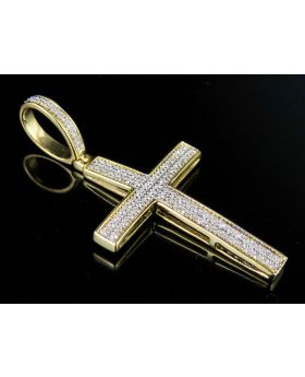 Men's 10K Yellow Gold 2 Rows Genuine Diamond Cross Pendant Charm 1/4 Ct 1.5""
